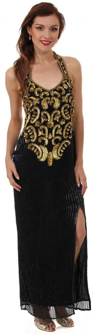Halter Neck Paisley Sequins Pattern Formal Evening Gown
