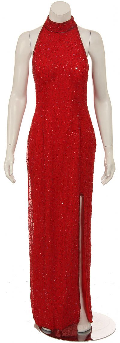 Split Back Hand Beaded Long Formal Dress
