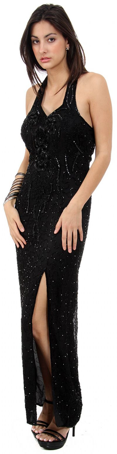 Sequin Beaded Halter Neck Formal Gown with Front Slit
