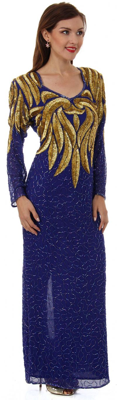 Full Sleeves Sequined Formal Gown with Keyhole Back