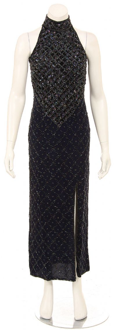 Turtle Neck Beaded Bodice Sequined Formal Dress