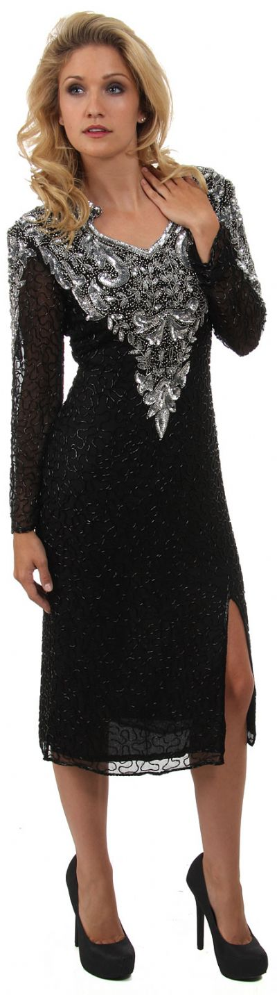Full Sleeves Medium Length Sequined Cocktail Dress
