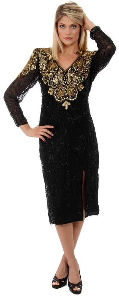 Full Sleeves Tea Length Silk Sequined Formal Dress with Slit