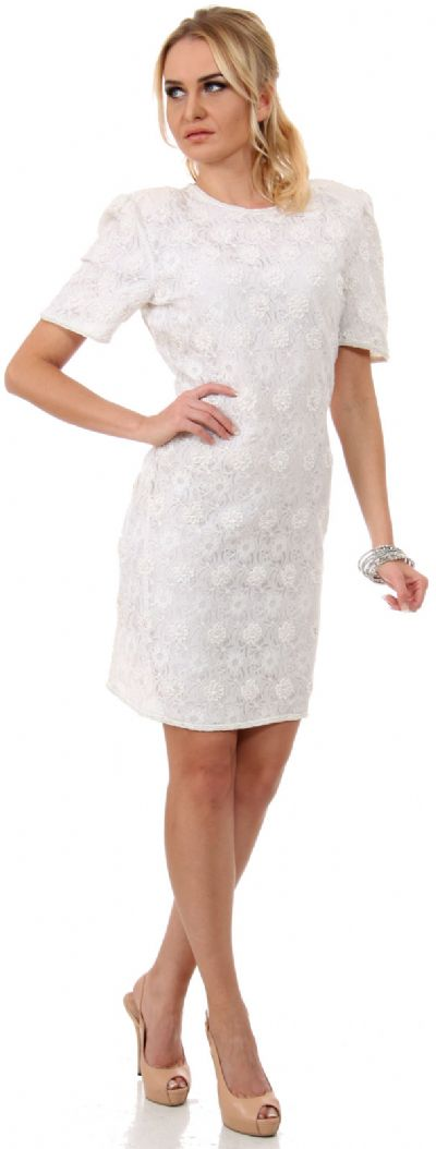 Miniature Flowers Short Formal Party Dress with Keyhole
