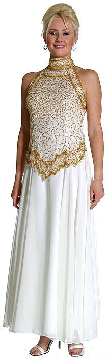 A-Line Halter Neck Beaded Dress.