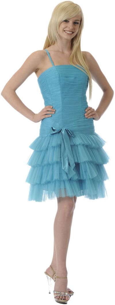 Satin Bow Spaghetti Strap Party Dress