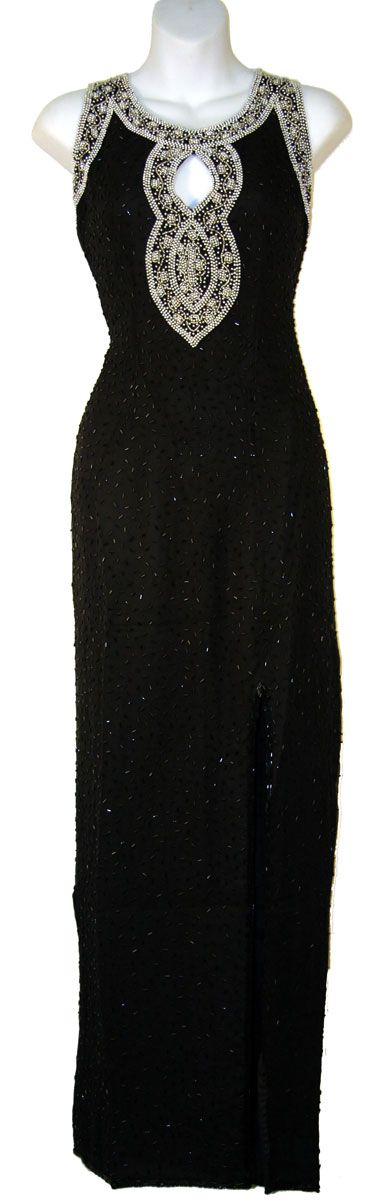 Key Hole Sequin Beaded Formal Dress