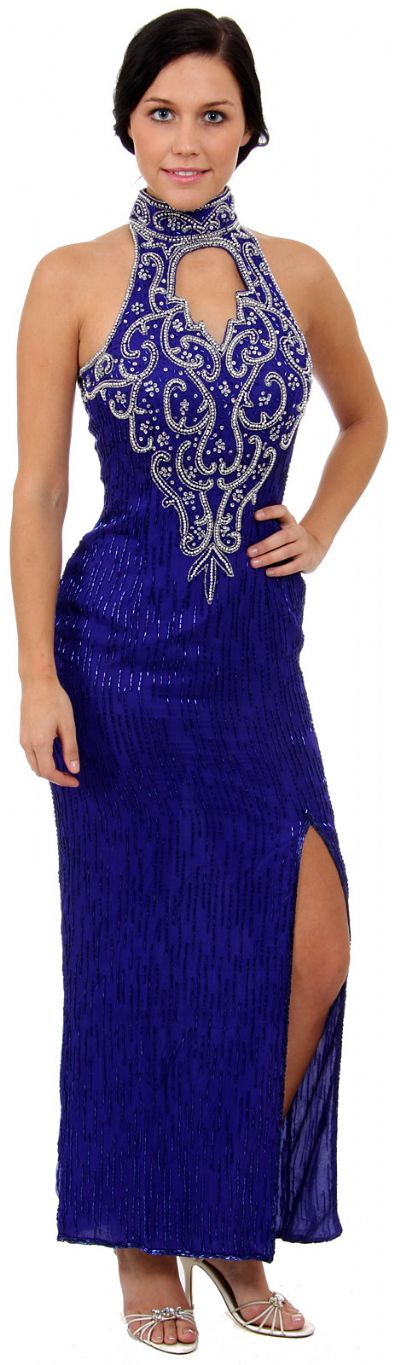 Turtle Neck with Keyhole Long Beaded Formal Dress