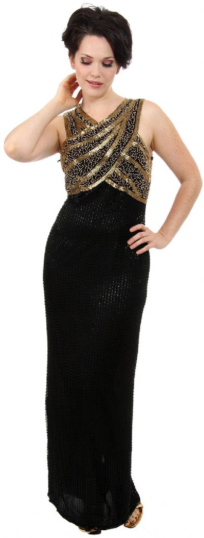 Sleeveless Long Formal Dress with Wrap Style Beaded Bodice