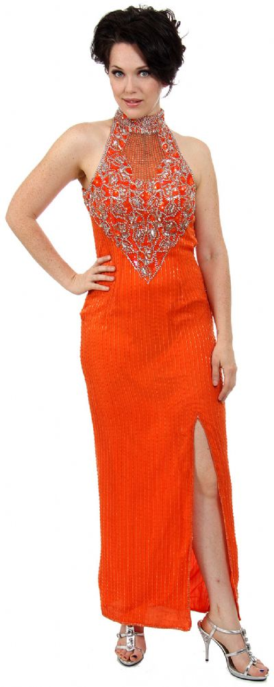 Closed Neck Full Length Beaded Formal Gown