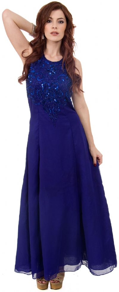 A-line Silk Chiffon Formal Dress with Beaded Bodice