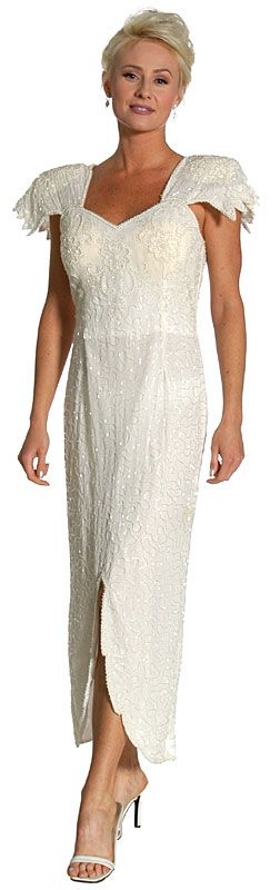 Flutter Sleeves Beaded Formal Dress with U-Cut Hem