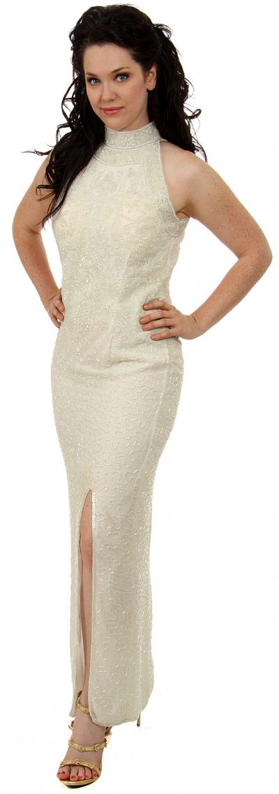 Turtle Neck Beaded Straight Gown with Front Slit