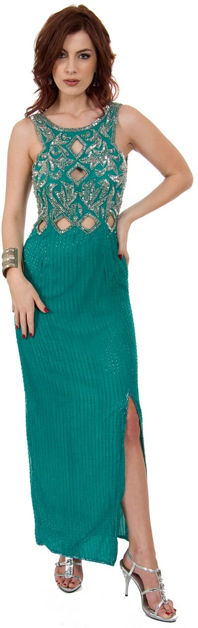 Sequined Long Gown with Keyholes & Stylish Back