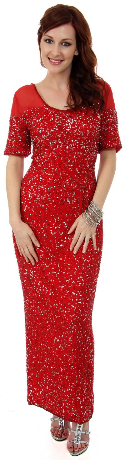 Half Sleeves Sequined Formal Evening Dress