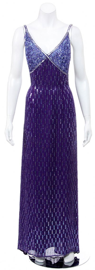 Hand Beaded Long Cocktail Dress