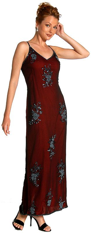 Full Length Floral Beadwork Formal Dress