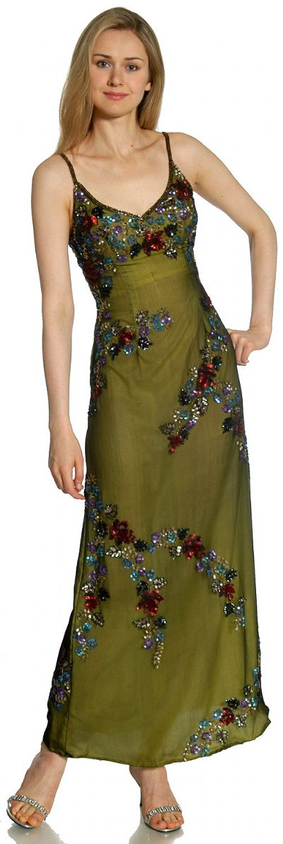 Multi Colored Flowered Sequin Dress