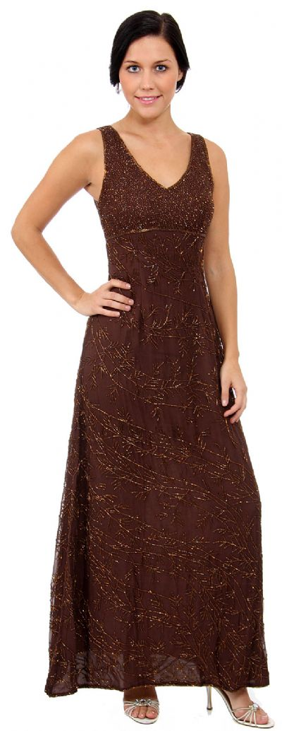V-Neck Empire Cut A-line Formal Beaded Dress with Keyhole