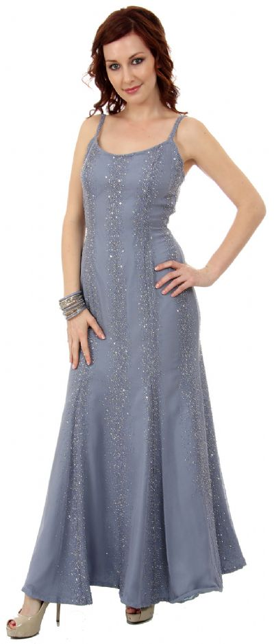 Flared Sequined Prom Dress with Spaghetti Straps