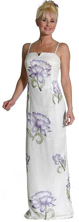 Square Neck Beaded Cocktail Gown with Painted Flowers