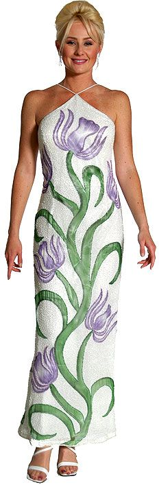 Halter Neck Beaded Formal Gown with Painted Flowers
