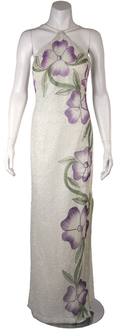 Halter Neck Formal Dress with Painted Floral pattern