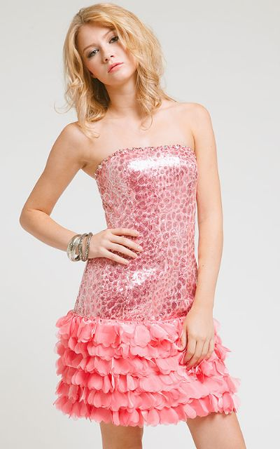Strapless Metallic Bodice Short Dress with Tiered Hem