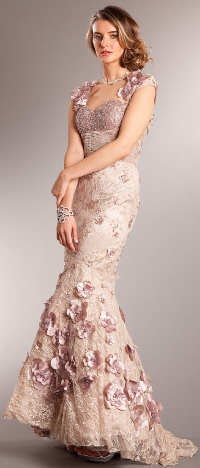 Mermaid Floral Lace Beaded Long Prom Pageant Dress