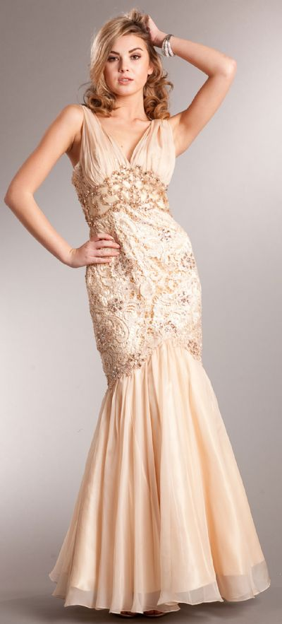 Bejeweled Lace Bodice Mermaid Skirt Long Formal Prom Gown