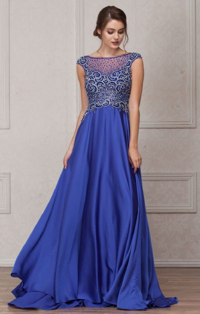 Embellished Sheer Top Long Prom Pageant Satin Dress