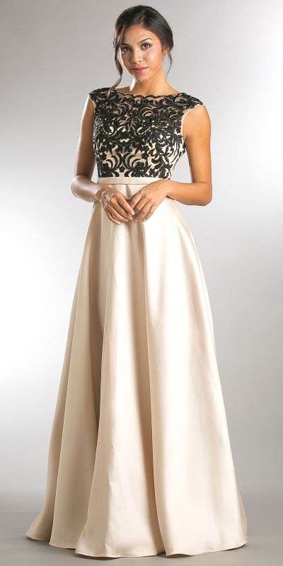 Boat Neck Mesh Embroidered Top Long Formal Evening Dress