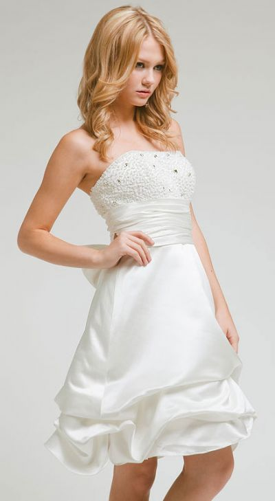 Bridal Satin Strapless Cocktail dress with beaded bodice