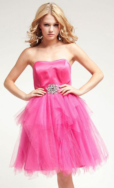Strapless Satin Bust Party Dress with Shiny Mesh Skirt