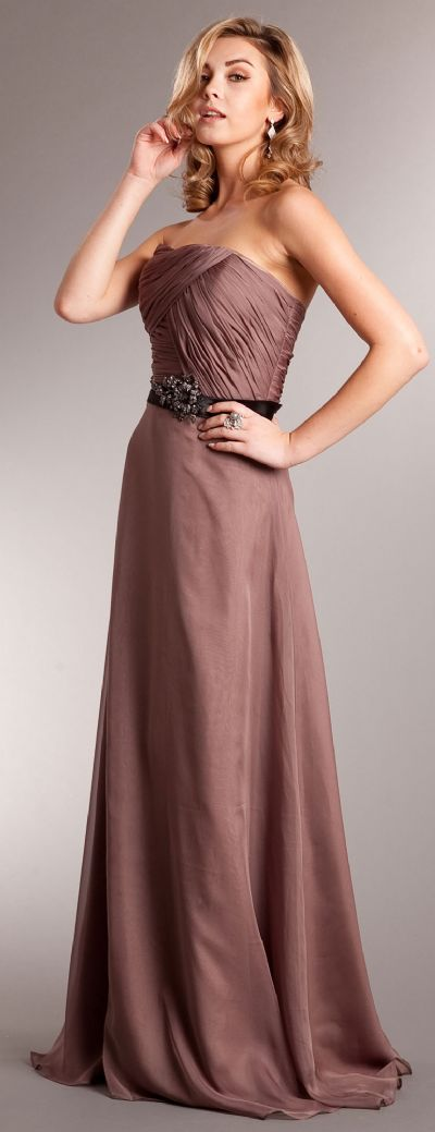 Strapless Long Formal Dress with Pleating & Belt