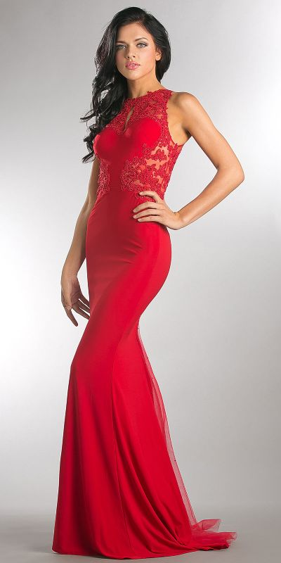 Beaded Lace & Mesh Bodice Long Prom Pageant Dress