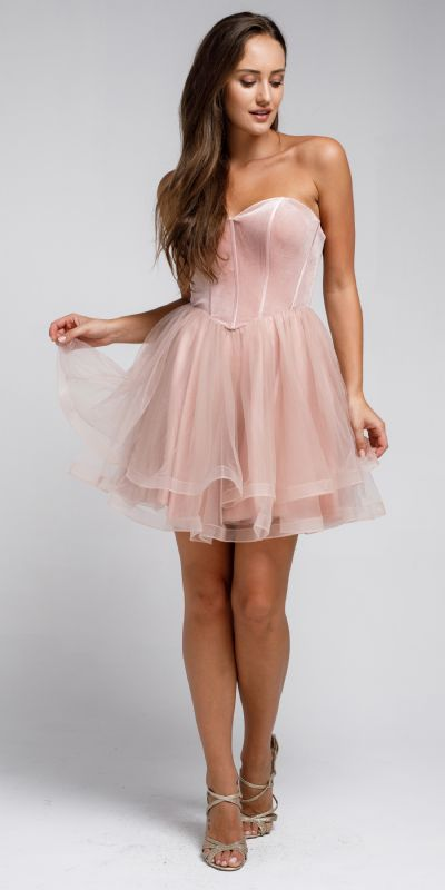 Strapless Short Babydoll Prom Dress