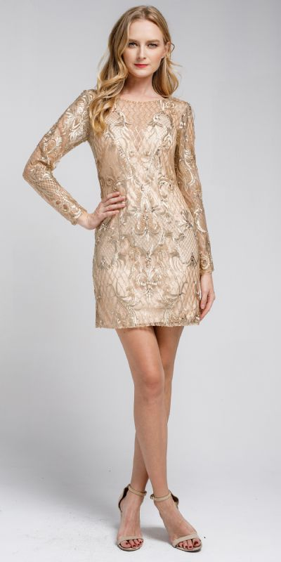 Embellished Full Sleeve Prom Dress