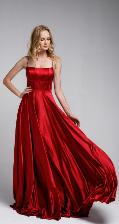 A-Line Spaghetti Prom Gown with Long Flowing Skirt