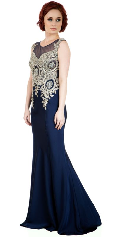 Boat Neck Fully Embroidered Bodice Long Formal Prom Dress