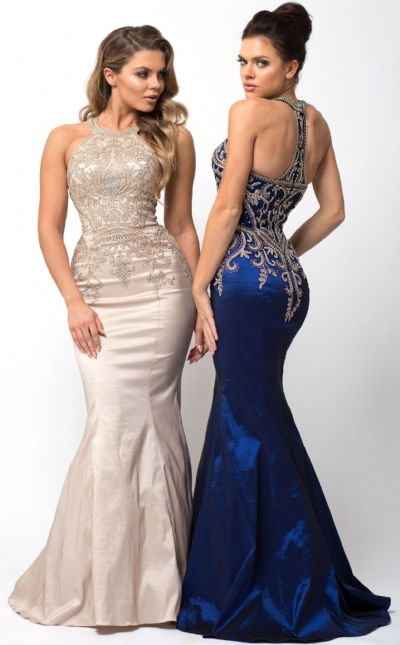 Embellished Bodice Round Neck Fit-n-Flare Long Prom Dress