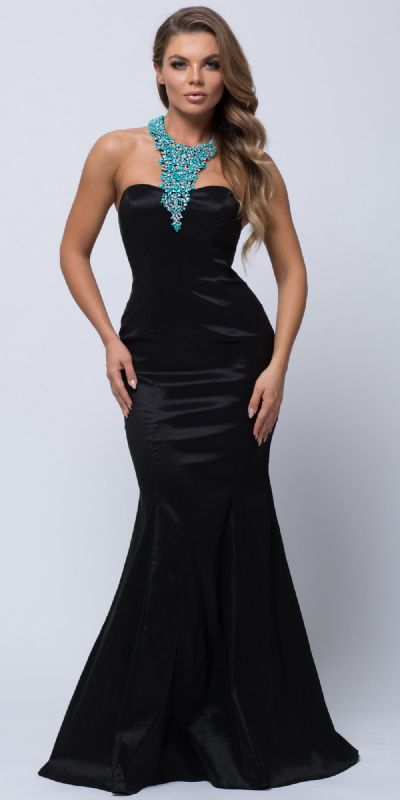 Bejeweled Halter Necklace Fit-n-Flare Long Prom Dress