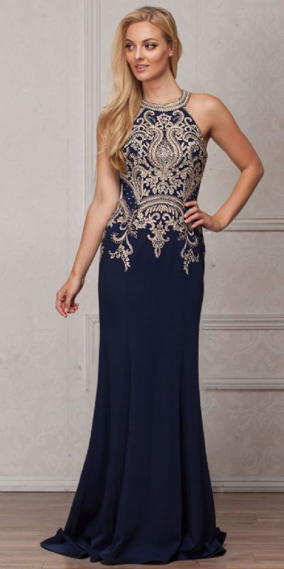 Round Collar Neck Embellished Bodice Long Prom Pageant Dress