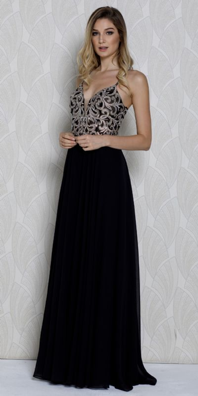 V-neck Beaded Lace Bodice Long Formal Prom Dress
