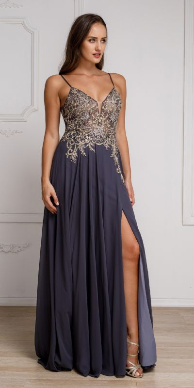 Beaded Embellished Spaghetti Prom Dress