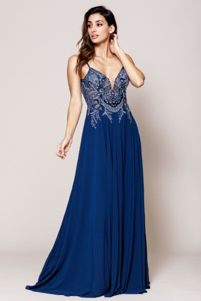 Rhinestone Long Prom Dress with Spaghetti Straps