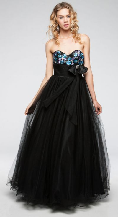 Strapless Sweetheart Neck Long Formal Prom Gown in Mesh