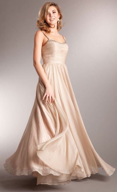 Shirred Bust Long Formal Bridesmaid Dress with Rhinestones
