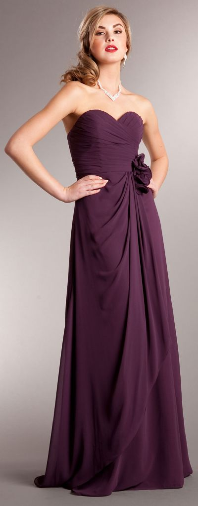 Pleated Wrap Style Floral Long Formal Bridesmaid Dress