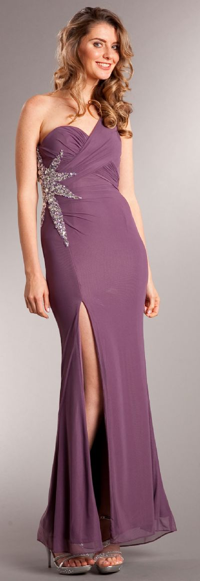 One Shoulder Long Formal Dress with Bejeweled Waist